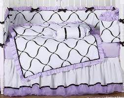 purple black and white princess baby bedding 9 pc crib set only