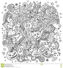 free halloween artwork cartoon cute doodles hand drawn halloween illustration stock