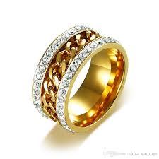 gold rings for men agood spinner chain ring for men women inlay gold rings