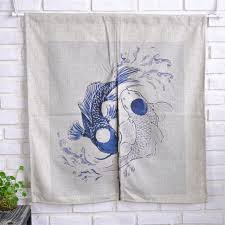 Fish Curtains Traditional Style Cotton Linen Door Curtains Fish