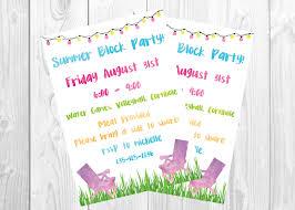 summer backyard bbq block party invitation end of