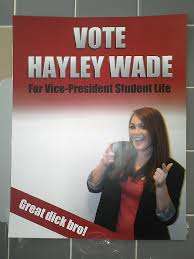 copyranter hayley wade is running for vice president student life
