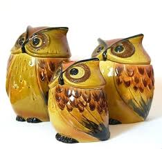 orange kitchen canisters bird kitchen canisters vintage owl canister set 3 green brown