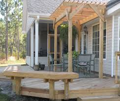 Build Deck Bench Seating Permanent Deck And Patio Benches For When The Wind Kicks Up We