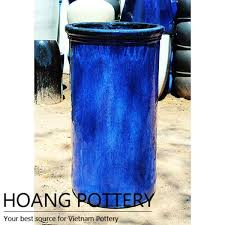 blue contempoary glazed ceramic tall planters hpan044 hoang