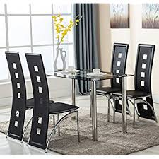 Dining Room Table Chairs Amazon Com 5pc Glass Dining Table With 4 Chairs Set Glass Metal
