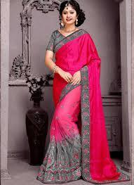 rani pink colour rani pink grey embroidery work banglori silk net silk designer