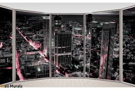 mural ellipse window view with a black city wallpapers mural ellipse window view with a black city