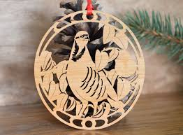 wooden partridge ornament bird wood cut design woodcut