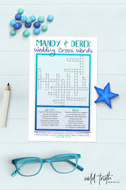 custom wedding crossword puzzle printable or printed 219