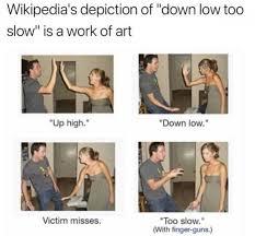 Wikipedia Meme - wikipedia s depiction of down low too slow is a work of art meme xyz