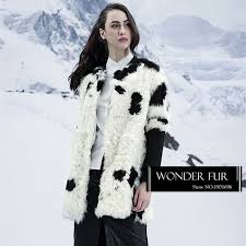 cute jacket pattern cow pattern lamb fur down coat original design sheep fur jacket