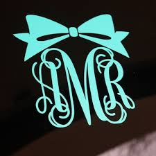 bow monogram vinyl monogram decal