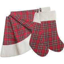 plaid tree skirt free shipping set of 1pc large 46 polar fleece plaid