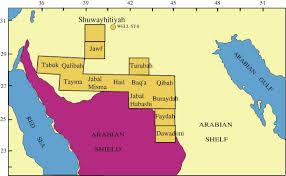 map of tabuk paleozoic tectono stratigraphic framework of the arabian peninsula