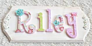 Personalized Nursery Decor Custom Name Sign Plaque Wooden Letters For Nursery Baby Name