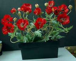Vase With Red Poppies Silk Flowers Poppies 12 Silk Flowers Bouquet Red Yellow Creamy
