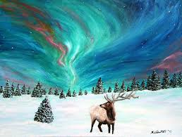 how to paint northern lights elk under the northern lights painting by amy scholten