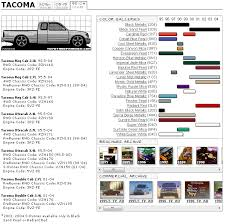 2004 Toyota Tacoma Interior Toyota Tacoma Color And Model Info Chart Toyota Tacoma Forum