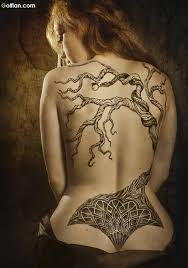 mind blowing apple tree and snake tattoo on back golfian com