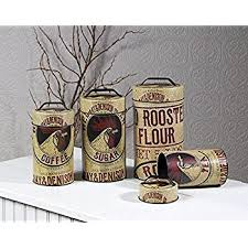 Rooster Decor For The Kitchen Amazon Com Seed Bag Red Rooster Food Safe Tin Canister Set