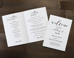 diy wedding program template wedding program template etsy