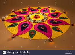 rangoli decoration decoration diwali festival onam rangoli diya religion stock photo