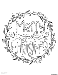 Merry Christmas Wreath Adult Coloring Pages Printable Merry Coloring Pages Printable