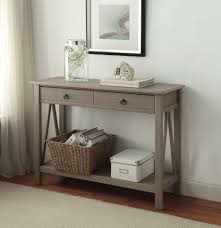 linon titian rustic gray console table