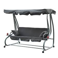 hammock bench outsunny heavy duty metal 3 seater covered outdoor swing chair