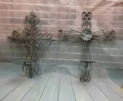 celtic cross wall hanging iron metal celtic cross wall hanging candle holder set of 2 ebay