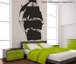 Pirate Ship Bed Frame Vinyl Wall Decal Sticker Pirate Ship Silhouette Os Mb139