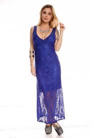 royal blue lace open back low front long party dress party