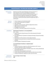 Refrigeration Technician Resume Extraordinary Maintenance Technician Resume Format On Awesome
