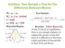 testing the difference between means large independent samples