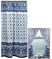 Window And Shower Curtain Sets Amazon Com Aquarium Blue Shower Curtain Set And 4 Piece Window