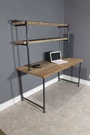 pipe desk with shelves pipe computer desk stunning reclaimed wood with side shelves desk