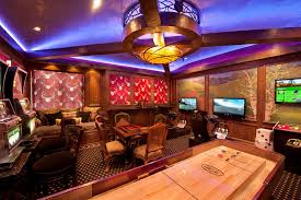 Media Game Room - modern games room living room traditional with multiple seating