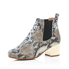 womens boots river island lyst river island beige snake print metallic heel ankle boots in