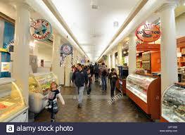 quincy market interior shops in boston massachusetts usa stock