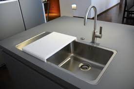 modern kitchen sinks design with drainboards curve faucet 7392