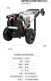 ryobi 3100 psi pressure washer manual simpson cleaning msh3125 s 3100 psi gas pressure washer review