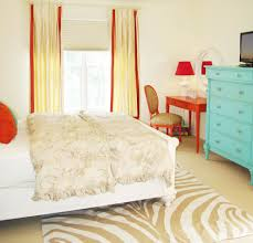 new york turquoise orange bedroom eclectic with wall murals