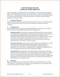 Scope Of Work Template Excel 8 Scope Of Work Sle Authorizationletters Org