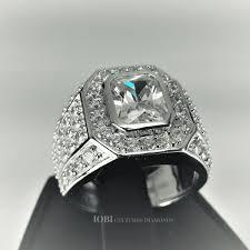 men s ring osiris 2 5ct emerald cut pavé bezel set iobi cultured diamond