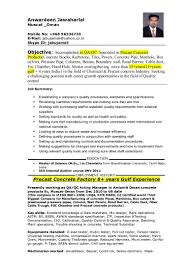 Qa Jobs Resume by Cv Precast Concrete