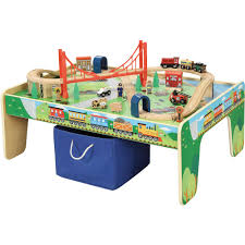 thomas the train wooden table wooden 50 piece train set with table for 34 97 from walmart