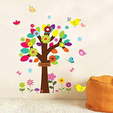 ulatree colorful cartoon tree birds kids room wall sticker home