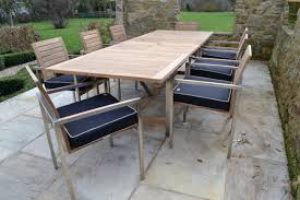 extending teak and stainless steel garden furniture set riviera