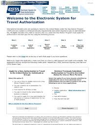electronic system for travel authorization images Travel usa esta form jpg